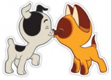 Плакат вырубной МИНИ. Котенок Гав целует щенка (из мультфильма Котенок по имени Гав). ФМ2-12707.